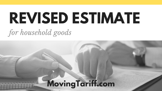 Revised estimate for moving company service